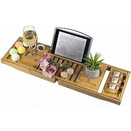 Rebrilliant Bamboo Bathtub Tray Expandable Bathtub Caddy Tray One Or Two Person Bath Tray W/ Book, Wine Holder Suitable For Luxury Spa Or Reading