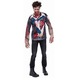 Halloween Zombie Adult Costume Size: Mens Large 42-46 Inch Chest - 16.5-17 Inch Neck - 34-38 Inch Waist, Blue