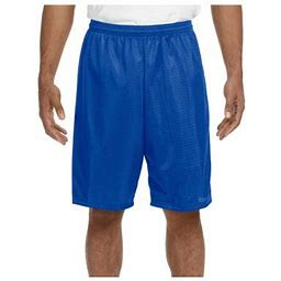 A4 Men's Moisture Wicking Tricot Performance Mesh Short, Style N5296, Size: Medium, Blue