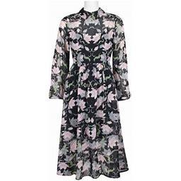 Avec Les Filles Collared Long Sleeve Ruched Waist Zipper Back Floral Chiffon Dress-BLACK Multi, Women's, Size: 12