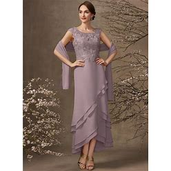 Jjshouse A-Line Scoop Neck Asymmetrical Chiffon Lace Mother Of The Bride Dress With Cascading Ruffles