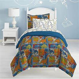 Dream Factory Dino Blocks Twin Comforter Set In Blue - Chf Industries Inc. - Kids Comforters & Sets - Twin - Blue