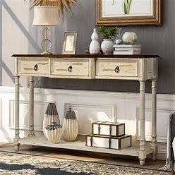 Zimtown Farmhouse Wood Buffet Sideboard Console Sofa Table Side Desk Entryway Hall Accent Table With Storage Drawers & Bottom Shelf, Size: 52, Beige