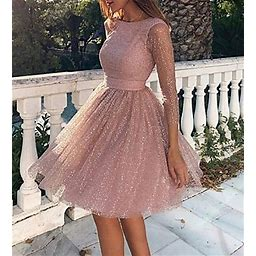 Women's Skater Short Mini Dress - Long Sleeve Solid Colored Backless Glitter Clothing Spring Summer Hot Sexy Going Out 2020 Blushing Pink M 00003