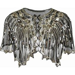 The Great Gatsby Retro Vintage 1920S Masquerade Women's Sequins Tulle Sequin Costume Golden Vintage Cosplay Party Halloween One Size 0000B