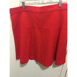 Gap Red Fit Flare Side Zipper Skirt 16 Tall