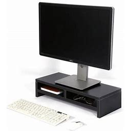 Walfront Desktop Monitor Stand LCD TV Laptop Rack Computer Screen Riser Shelf Platform Office Desk Black, Screen Platform,Monitor Shelf Black/White