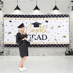 Graduation Background Banner Backdrops Congratulations Party Decorations Supplies Photo Props