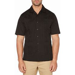 Cubavera Camp Collar Embroidered Guayabera Mens Short Sleeve Panel Button-Down Shirt, Small, Black