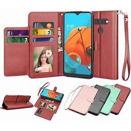 Lg K51 / LG Q51 Wallet Case, LG Reflect 6.5 Inch PU Leather Cases, Tekcoo ID Cash Credit Card Slots Holder Purse Carrying Folio Flip Cover [Detachable