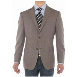 Ln Luciano Natazzi Mens Two Button 160's Wool Blazer Ticket Pocket Suit Jacket Light Brown, Men's, Size: 54 Long US / 64L EU