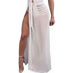 Pudcoco Women Chiffon Long Maxi Skirt High Waist Pleated Boho Beach Skirt Dress, Women's, Size: One Size, Beige