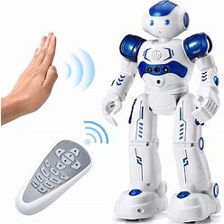 Playsheek Robots For Kids Rechargeable Programmable Rc Robot Toys With Infrared Controller, Hand Gesture Sensing Robot Dancing Walking Singing Birthday For Kids, Blue