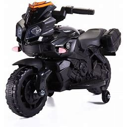 Tobbi 6V Kids Ride On Motorcycle Battery Powered Electric Toy With Training Wheels Black, Size: Type 2