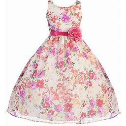 Dreamer P Big Girls' Lovely Girl Dress Refreshing Tropical Floral Print Chiffon Flower Girl Dress Fuchsia 10 (c75a3), Girl's, Pink