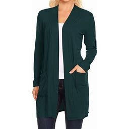 Moa Collection Women's Long Sleeves Loose Fit Open Front Side Pockets Solid Cardigan Made In USA, Size: 3XL, Green