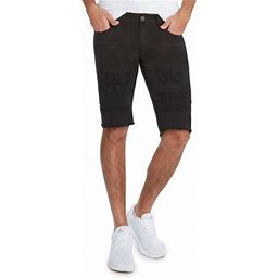 Men's 5 Pocket Distressed Denim RD Shorts By 9 Crowns (Black, 34)