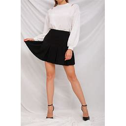 Women's Skirt / A Line Basic Mini Skirts - Solid ColoredPleated Black M 00009