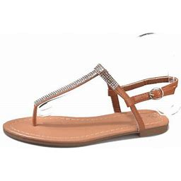 Lowestbest Sandals For Women, 003bn38ns Women's Flat Sandals Crystal Summer Gladiator Sandals Flip Flops For Ladies, Brown Soft Elastic Beach Party