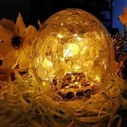 Outdoor Solar Ball Lights Garden Crackle Glass Globe Stake Lamp Waterproof Warm LED Christmas Yard Decoration For Patio Walkway Landscape Lawn, 1