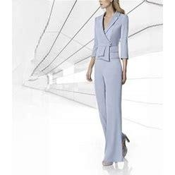Two Piece Pantsuit / Jumpsuit Mother Of The Bride Dress Elegant V Neck Floor Length Satin 3/4 Length Sleeve With Ruching 2021 Royal Blue US 6 / UK 10