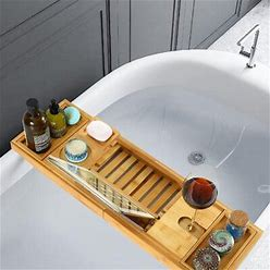 Rebrilliant Bamboo Bathtub Caddy Tray: Luxury Expandable Bath Tray W/ Wine Glass Slot & Tablet Book Holder Gift Idea For Loved Ones In White