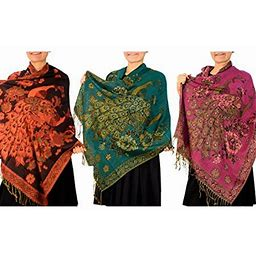 Peach Couture Floral Peacock Reversible Pashmina Wrap Shawl Scarf 3 Pack, Adult Unisex, Size: One Size, Red