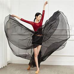 Ballroom Dance Skirts Ruching Bandage Solid Women's Training Performance High Chiffon Black One Size 00003