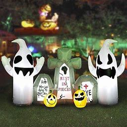 Decorx 8FT Long Halloween Ghost With Tombstone Inflatable Decoration With Build In Leds, Blow Up Indoor, Yard, Garden Lawn Decoration, Adult Unisex,