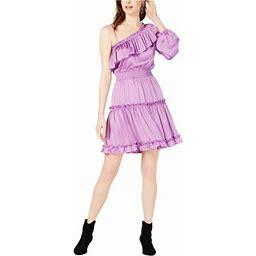 Bar Iii Womens Ruffled One Shoulder Dress, Women's, Size: XS, Purple