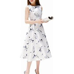 BAGGUCOR Womens Elegant A-Line Dress Floral Printed Ball Gown Ladies Party Cocktail Evening Long Sleeveless Dress, Women's, Size: Medium, White