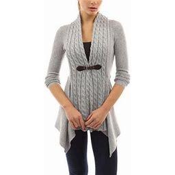 FreshLook Fashion Women Buckle Braid Front Cardigan Knitwear Warm Sweaters Autumn Long Sleeve Casual Slim Outwear, Women's, Size: Small, Gray