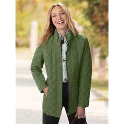 Women's Diamond Quilted Jacket, Dark Sage Green S Misses, Appleseed's