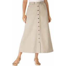 Plus Size Women's Button Front Long Denim Skirt By Woman Within In Natural Khaki (16 Wide) | Cotton