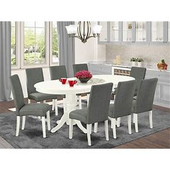 EAST WEST FURNITURE VADR9-LWH-07 9Pc Dinette Set Includes A 59/76.4 Inch Oval Dining Table With Butterfly Leaf And 8 Parson Chair White Finish Leg