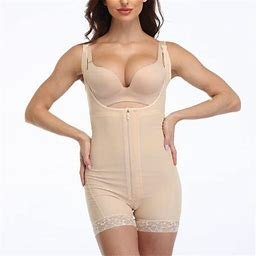 Ilfioreemio Women Shapewear Tummy Control Fajas Open Bust Butt Lifter Bodysuit Slimmer Body Shaper Slimming Girdle Bodysuit, Women's, Size: 3XL, Beige