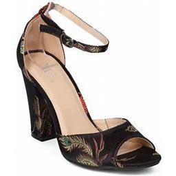 Alrisml New Women Brocade Dragon And Phoenix Block Heel Ankle Strap Sandal - 17910 By ML, Women's, Black