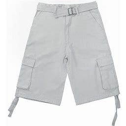 North 15 Men's Belted Clasic Cargo Pockets Twill Shorts-4550-Wht-32, White