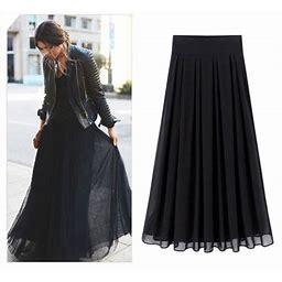 Puloru Plus Size Women Solid Color Chiffon Skirt, High Waist Double Layer Long Skirt For Autumn Spring, Women's, Size: XL, Black