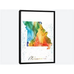 Framed Canvas Art - Missouri State Colorful By Walldecoraddict
