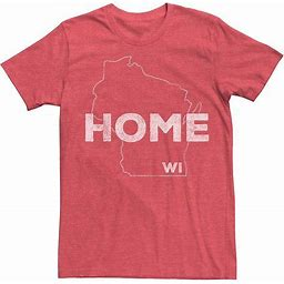 Men's Wisconsin Home State Graphic Tee, Size: Large, Red