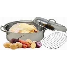 Stainless Steel Roaster Pan Extra Large & Lightweight | With Induction Lid & Wire Rack | Multi-Purpose Oven Cookware High Dome | Meat Joints Chicken