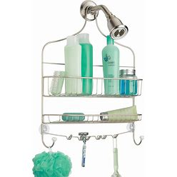 Extra Wide Bathroom Tub Shower Caddy Hanging Storage | Satin/White | Mdesign Home Decor
