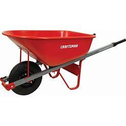 CRAFTSMAN 6 Cubic Ft Steel Tray Wheelbarrow, Steel Handles In Red   CMXMBBAR6ST