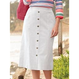 Women's Plus Knit Denim Button Front Skirt, White 1X, Appleseed's