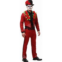 Men's Day Of The Dead Costume | Adult | Mens | Black/Red | XL | FUN Costumes