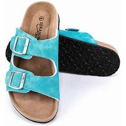 Seranoma Women's Double Buckle Micro Suede Sandal | Classic Ladies Slide, Size: US 7, Blue