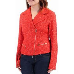St. John St John Womens Orange Zippered Motorcycle Jacket Size 4, Women's
