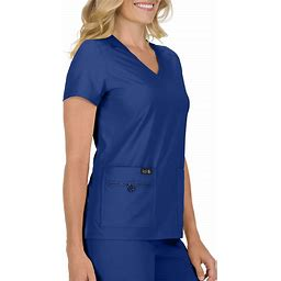 Koi Basics Becca V-Neck Easy Care Scrub Top With Hidden Cell Phone Pocket - Galaxy - V-Neck Scrub Tops - Koi Basics Scrub Tops From Scrubs And Beyond