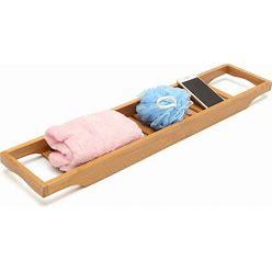 Bathroom Bamboo Bath Shelf Caddy Wine Holder Tub Tray Over Bathtub Rack Support Storage